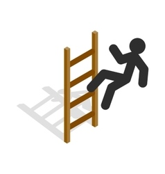 Man climbs the stairs icon isometric 3d style vector image