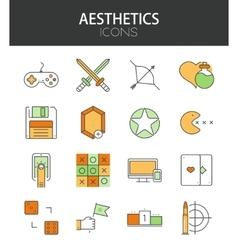 Modern thin line flat design of icons set vector
