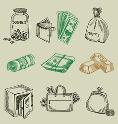 Money icon sketch design vector image