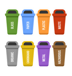 multicolored recycle standing waste bins for vector image