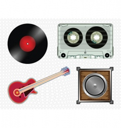 music icons collection vector image