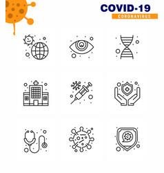 Novel coronavirus 2019-ncov 9 line icon pack vector