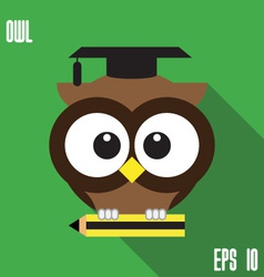 Owl and pencil vector