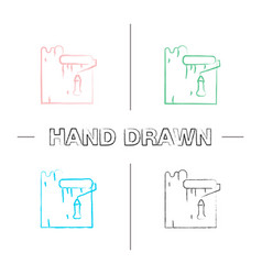 paint roller dyeing wall hand drawn icons set vector image