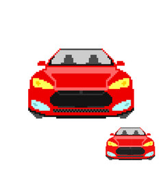 Pixel art car front isolated vector