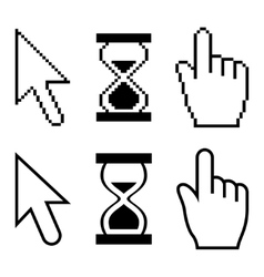 Pixel cursors icons Hand cursor mouse pointer vector