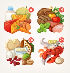 Products rich with vitamins vector image