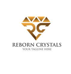 R c crystals gold logo designs simple modern vector