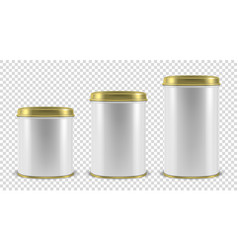 Realistic 3d white blank metal tin can vector