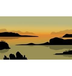 Rock in beach scenery vector
