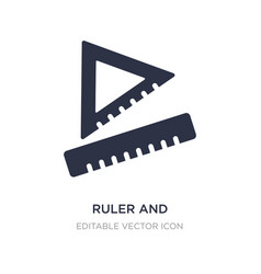 Ruler and square measuring tools icon on white vector