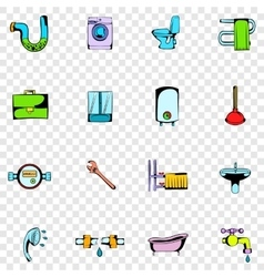 Sanitary engineering set icons vector