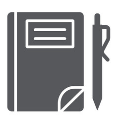 school notebook glyph icon paper and education vector image