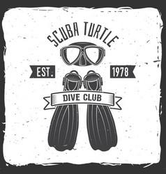 Scuba turtle dive club vector