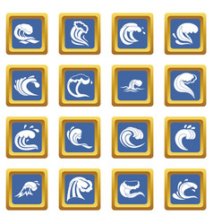 Sea waves icons set blue vector
