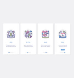 Seafood raw products delicious fastfood ux ui vector