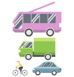 set flat transport icon vector image