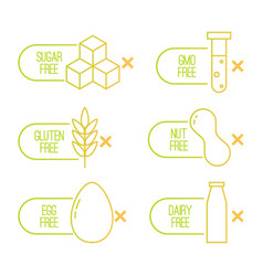 set food diet labels vector image