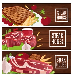 Set of banners for theme steak house with vector