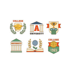 set of emblems for universities and vector image