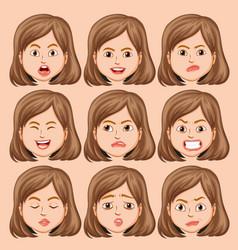 set of girl head with different facial expression vector image