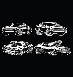 set of muscle car vector image