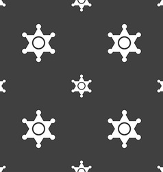 Sheriff star icon sign seamless pattern on a gray vector