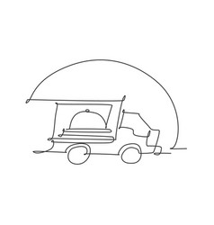single continuous line drawing stylized truck vector image