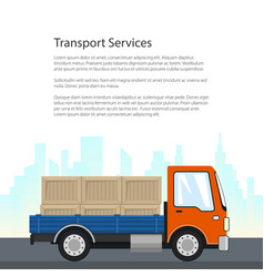 Small cargo truck on the road vector