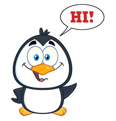 Smiling cute penguin cartoon character vector