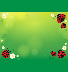 Spring background with ladybugs 1 vector
