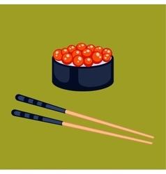 Sushi food and chopsticks vector image