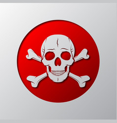 the skull and crossbones is cut from the paper vector image