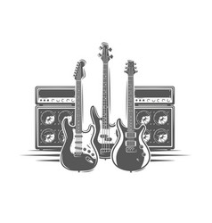 Three guitars and concert speakers vector