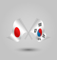 Two crossed japanese and korean flags vector