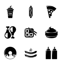 unhealthy food icons set simple style vector image