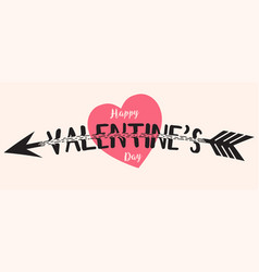 valentines day text with arrow vector image vector image
