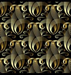 vintage gold damask 3d seamless pattern vector image