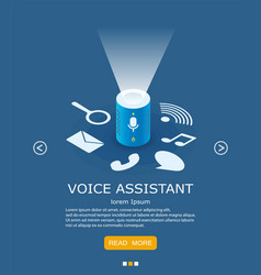 voice assistant web banner design template vector image