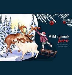 Winter animal frame design with deer girl vector