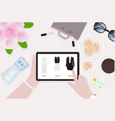 woman hands holding mobile tablet online shopping vector image