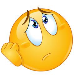 worry emoticon vector image