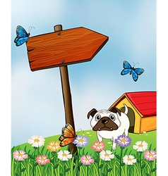A bulldog and the three colorful butterflies vector image vector image