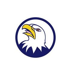 Bald Eagle Head Angry Looking Up Circle Retro vector image
