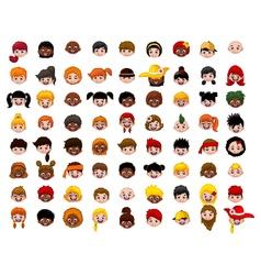 big Set of cartoon children head vector image