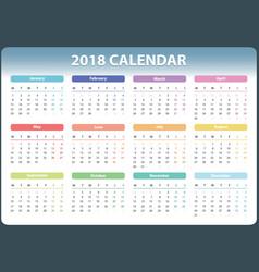 calendar for 2018 starts monday calendar vector image vector image