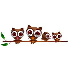 cute owl family vector image
