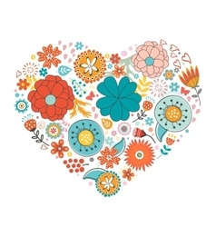Elegant love card with floral heart and vector