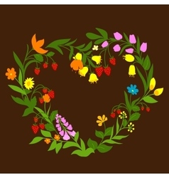 Floral heart with flowers and berries vector image vector image
