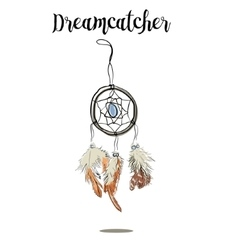 Hand-drawn with ink dreamcatcher with feathers vector image